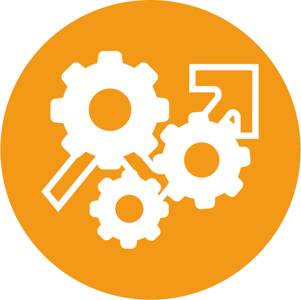 Engranajes y aumento que representan optimización de recursos
